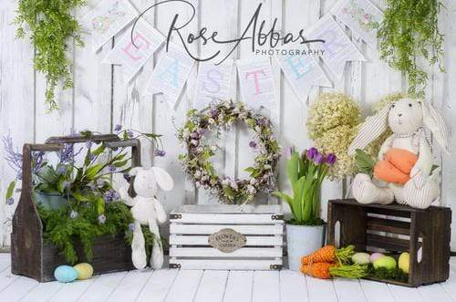 Katebackdrop£ºKate Easter with Carrots and Rabbits Backdrop Designed By Rose Abbas