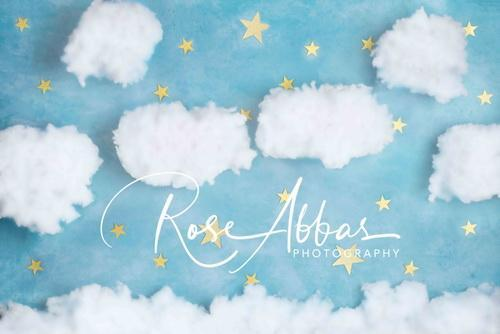 Katebackdrop:Kate Blue Cotton Candy Cloud with Stars Backdrop Designed By Rose Abbas
