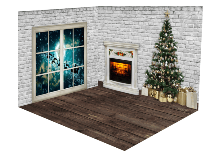 Katebackdrop:Kate Christmas Brick Fireplace Santa Window room set