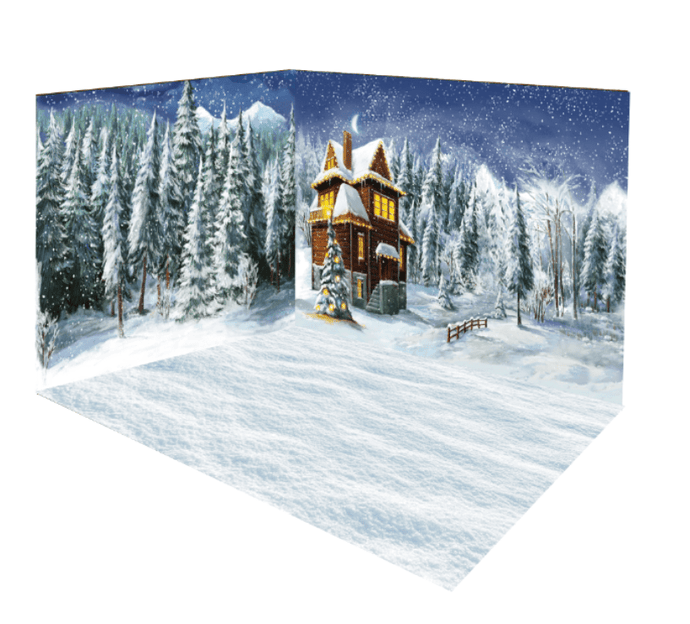 Katebackdrop:Kate Christmas farm Winter Forest Tree room set