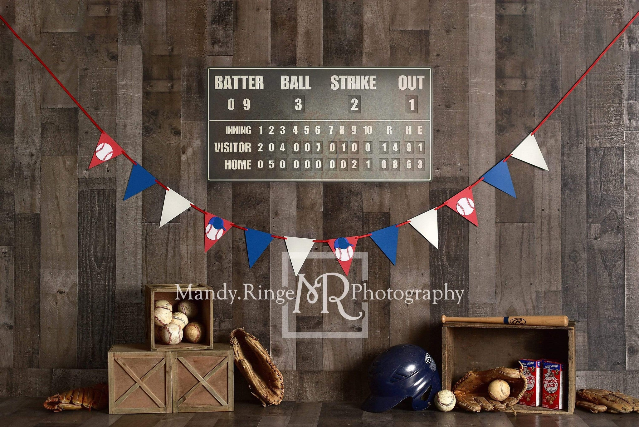 Cargar imagen en el visor de la galería, Katebackdrop:Kate Vintage Baseball with Scoreboard Sport Backdrop for Photography Designed By Mandy Ringe Photography