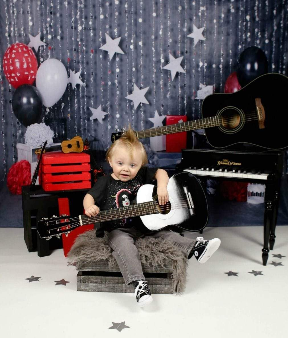 Cargar imagen en el visor de la galería, Katebackdrop:Kate rock star 1st birthday boy backdrop designed by studio gumot