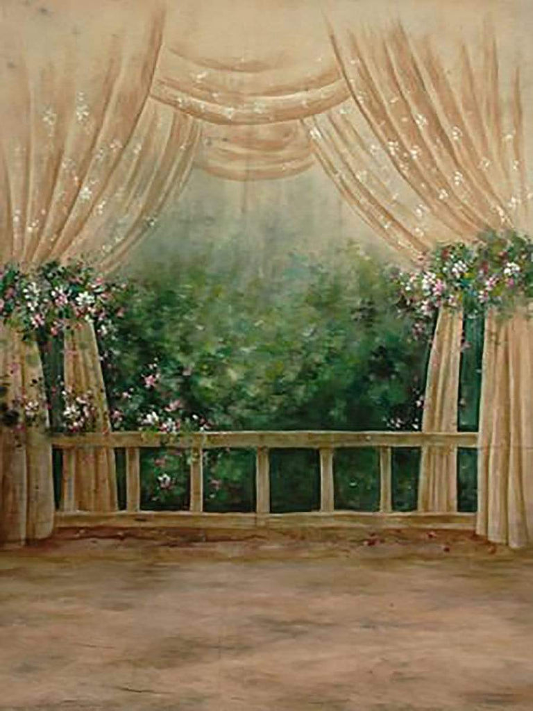 Katebackdrop£ºKate Window Scenery Floral Hand Painted Backdrops Canvas