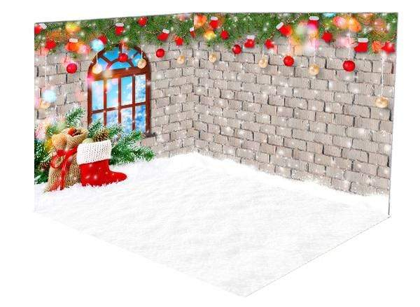 Katebackdrop:Kate Christmas Decorations Socks Snow Window room set