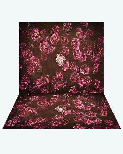 Katebackdrop:Kate Red retro Flowers Valentine's Day Backdrop+ Red retro Flowers Valentine's Day Rubber Floor Mat