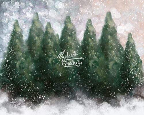 Cargar imagen en el visor de la galería, Katebackdrop:Kate Dazzling Winter Snowy Forest Backdrop for Photography Designed by Modest Brushes