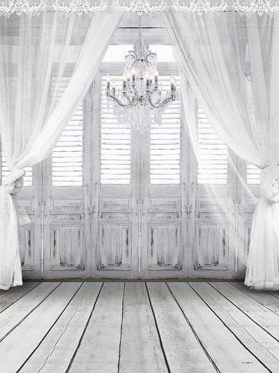 Katebackdrop:Kate windows with white sheer curtains chandelier floor Backdrop