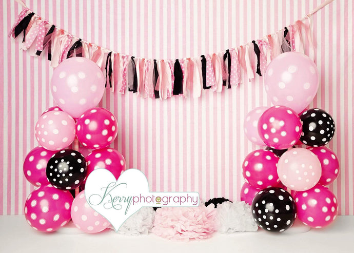 Katebackdrop£ºKate Black Pink Balloons with Strips for Children Backdrop for Photography Designed by Kerry Anderson