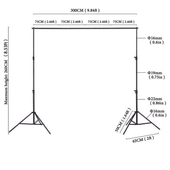 Katebackdrop:Kate Backgrounds Stand Equipment Black Framework Manual Aluminum