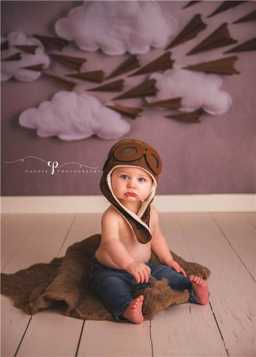 Katebackdrop£ºKate Paper Airplane with Clouds Children Backdrop for Photography Designed by Danette Kay Photography