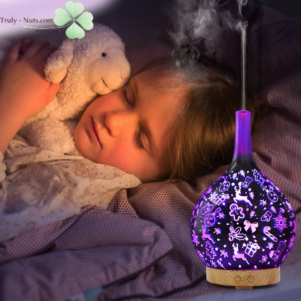 Aromatherapy Gift - Handcrafted 3D 7 LED Colours Glass Aroma Humidifier 100ml Aroma Oil Humidifier