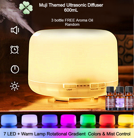 600mL MUJI Themed Aroma Essential Oil Humidifier - 7 LED + Warm Light + FREE 3 Aroma Oil Random