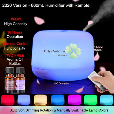 2020 NEW - 850mL MUJI Styled Humidifier 7 LED Lights + Warm Light + Remote Control + FREE 2 Aroma Essential Oil
