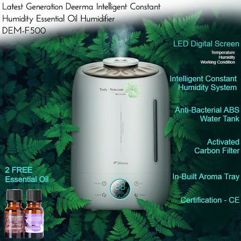 Deerma DEM-F500 5L Ultrasonic Humidifier - Touch Intelligent Sensor 2-in-1 Essential Oil Diffuser Humidifier - NEW 2020