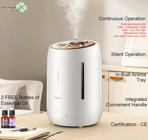 Deerma F600 - Ultrasonic Air Humidifer 5L Large Capacity Aroma Diffuser - FREE 2 Essential Oil