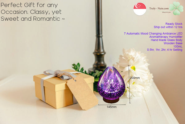 100ml Hand Crafted Glass 3D Essential Aroma Oil Humidifier - Cool Mist & 7 LED Rotating Lights