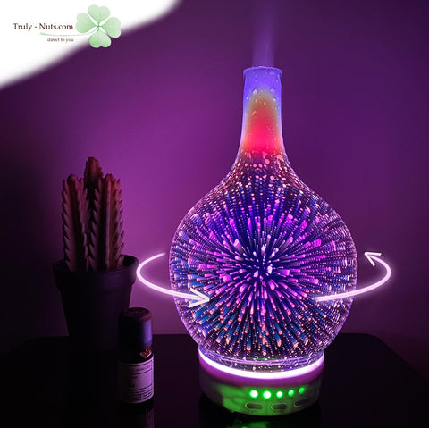 Rotating 3D Glass Humidifier with 7 LEDs