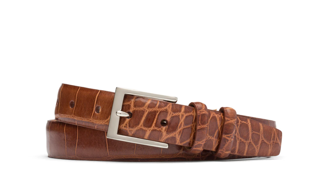 W Kleinberg Embossed Croc Belt