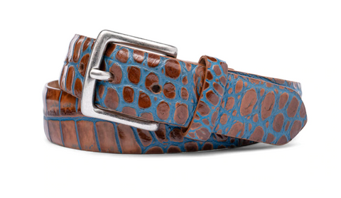 W. Kleinberg Two-Toned Crocodile Belt with Antique Silver Buckle