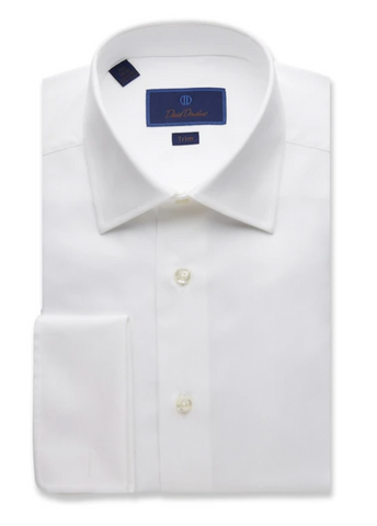 David Donahue Dress Shirt - Blue & White