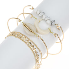 Load image into Gallery viewer, Gold Crescent & Shell Bracelet Set