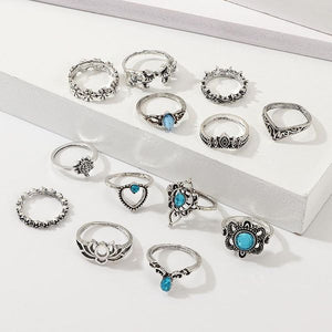 silver ring set of 13 uk