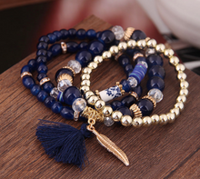 Load image into Gallery viewer, navy blue bead bracelet | boho jewellery