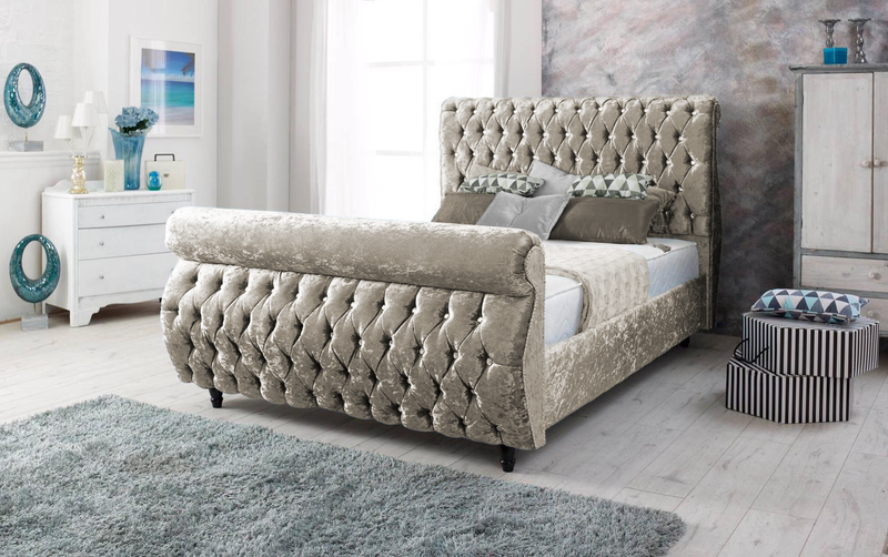 Swan Upholstered Sleigh Bed Frame