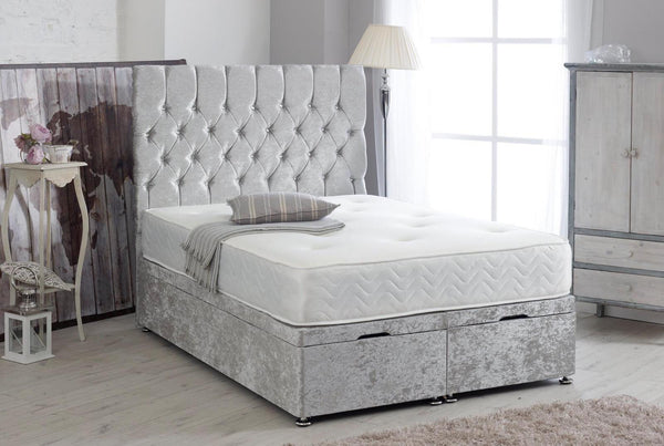 "Divan Ottoman Bed With 54"" Floor Standing Chesterfield Headboard"