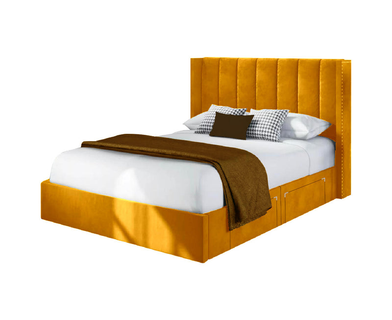"Divan Ottoman Storage Bed With 54"" Winged Headaboard"