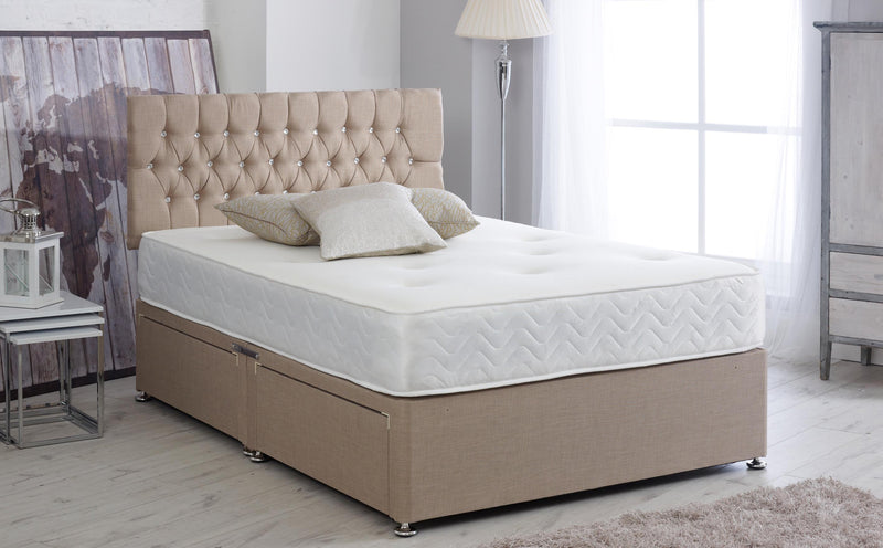 "Divan Bed Frame With 24"" Chesterfield Headboard"