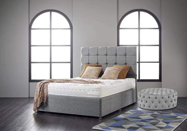 "Divan Bed Frame With 24"" Cube Headboard"