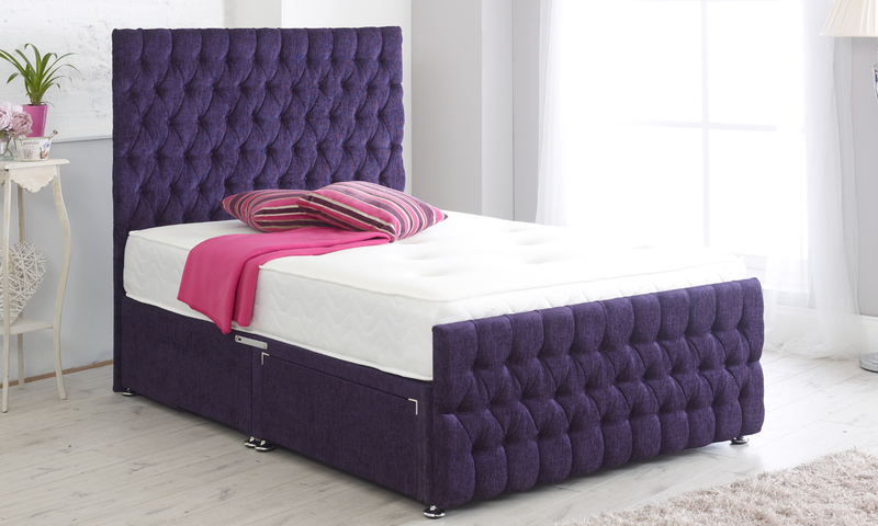 "Richmond Memory Foam Divan Bed With 54"" Floor Standing Headboard"