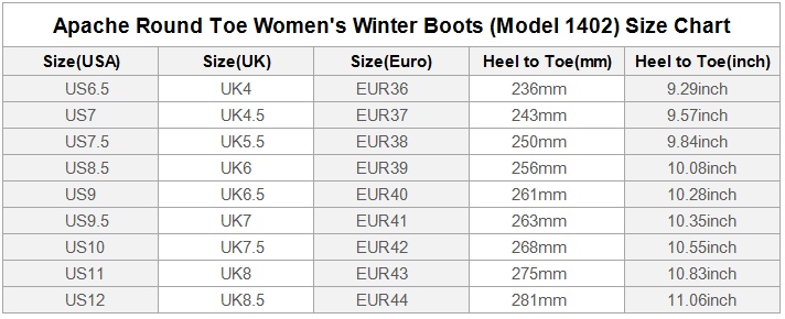 Apache Round Toe Womens Boots Size Chart