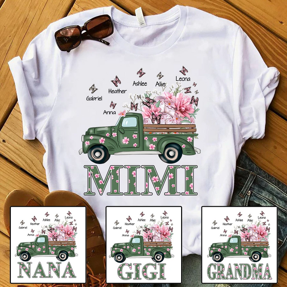 Personalized Grandma with grandkids truck flower