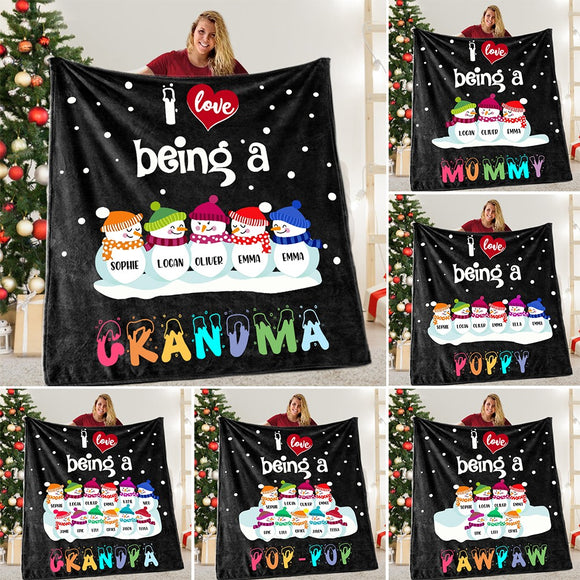 Snowmen Blanket With Grandkids  Love Pets
