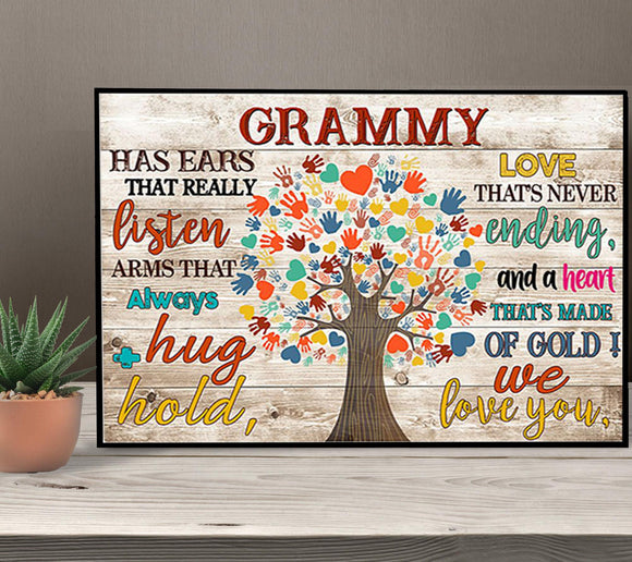 Shopcoolpod Grammy Has Ears That Really Listen Arms That Always Hug & Hold Grandmother Gift