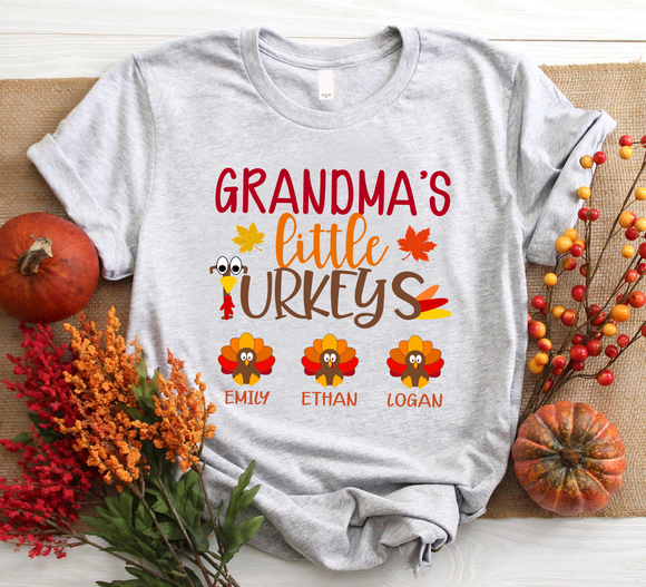 Grandma'S Little Turkeys With Grandkid Autumn