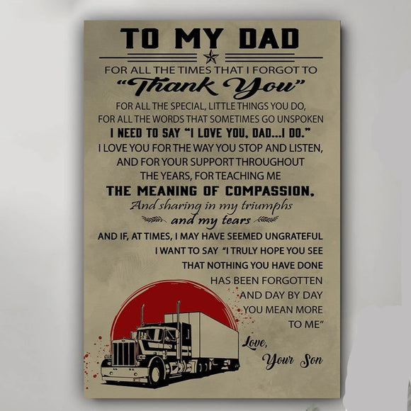 To My Dad From Trucker Son Poster Gift For Dad