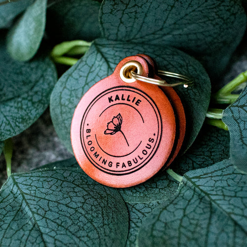 Blooming fabulous - saddle tan leather - double personalised dog tag