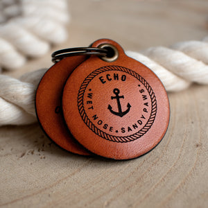 "Nautical themed ""wet nose, sandy paws"" - saddle tan leather - double personalised dog tag"