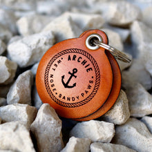 "Load image into Gallery viewer, Nautical themed ""wet nose, sandy paws"" - saddle tan leather - double personalised dog tag"