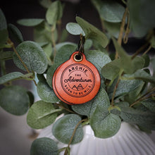 Load image into Gallery viewer, Vintage adventure themed - saddle tan leather - double personalised dog tag