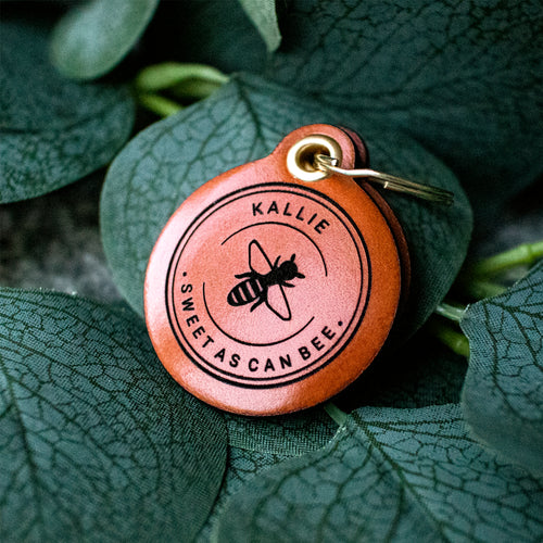 Sweet as can bee - saddle tan leather - double personalised dog tag