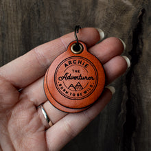 Load image into Gallery viewer, *NEW* Vintage adventure themed - saddle tan leather - double personalised dog tag