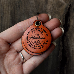 Vintage adventure themed - saddle tan leather - double personalised dog tag