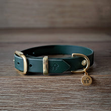 Load image into Gallery viewer, Forest Green - Leather dog collar with solid brass hardware