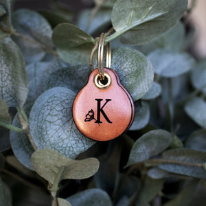 Miniature floral letter - saddle tan leather - double personalised dog tag