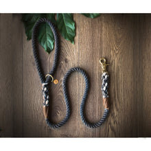 Load image into Gallery viewer, Charcoal grey - luxury personalised 100% cotton rope lead/leash