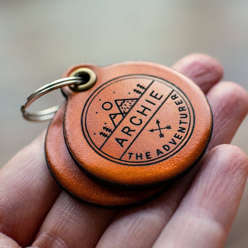 Adventure themed - saddle tan leather - double personalised dog tag